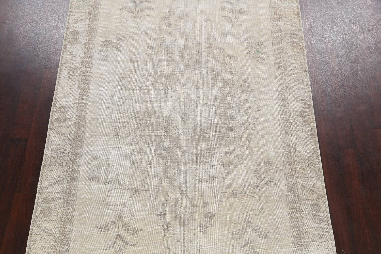 Muted Distressed Floral Tabriz Persian Area Rug 6x9 image 3