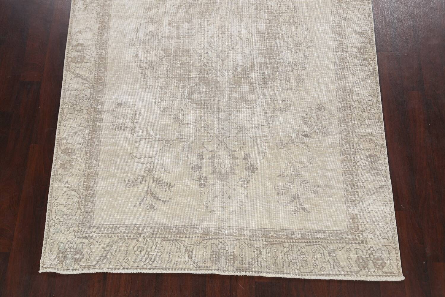 Muted Distressed Floral Tabriz Persian Area Rug 6x9 image 8