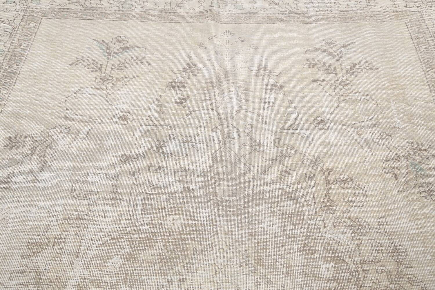 Muted Distressed Floral Tabriz Persian Area Rug 6x9 image 12