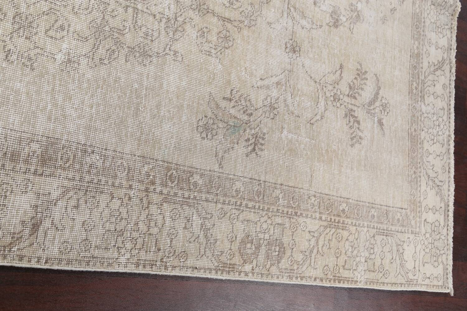 Muted Distressed Floral Tabriz Persian Area Rug 6x9 image 13