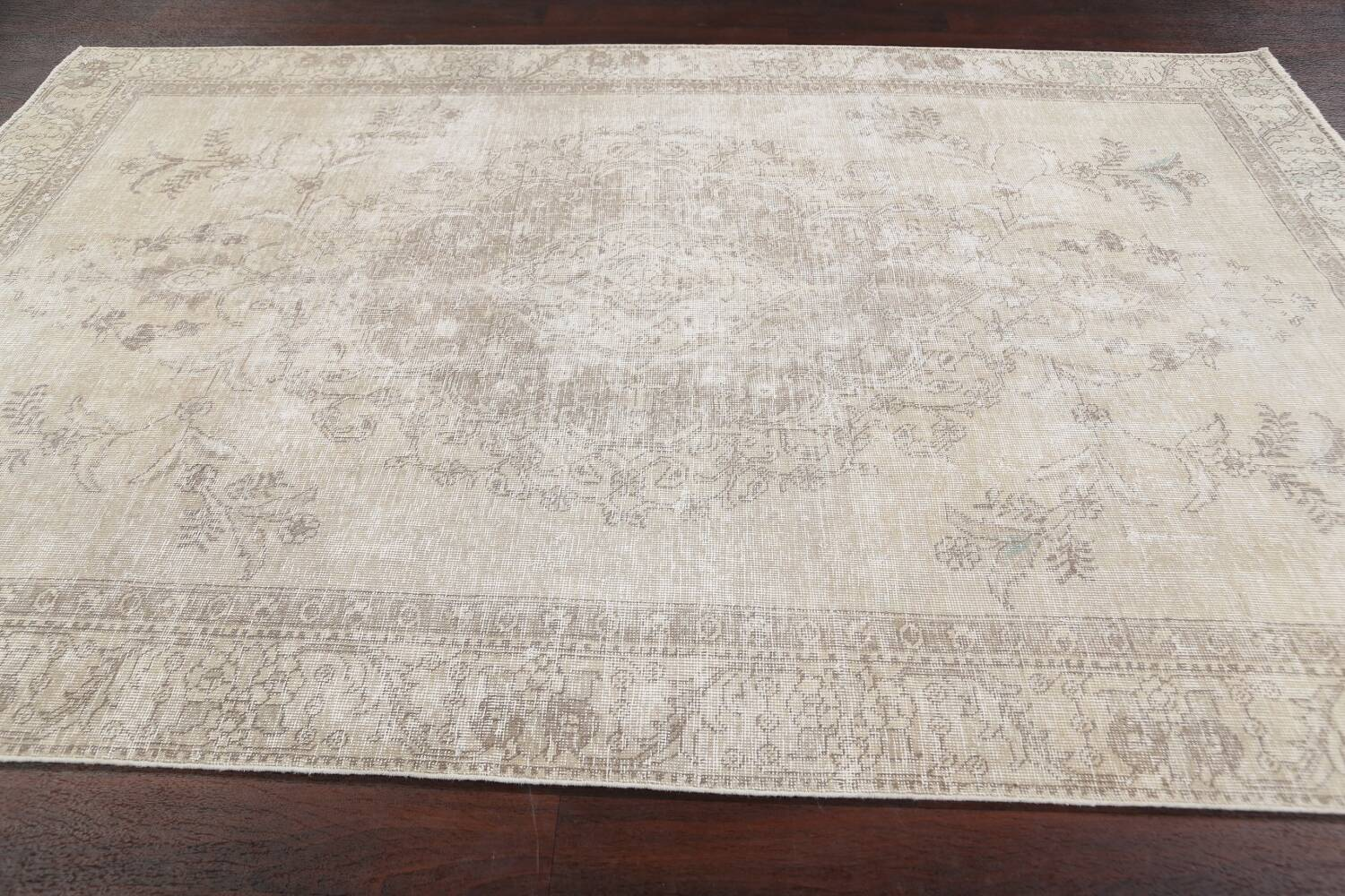 Muted Distressed Floral Tabriz Persian Area Rug 6x9 image 14