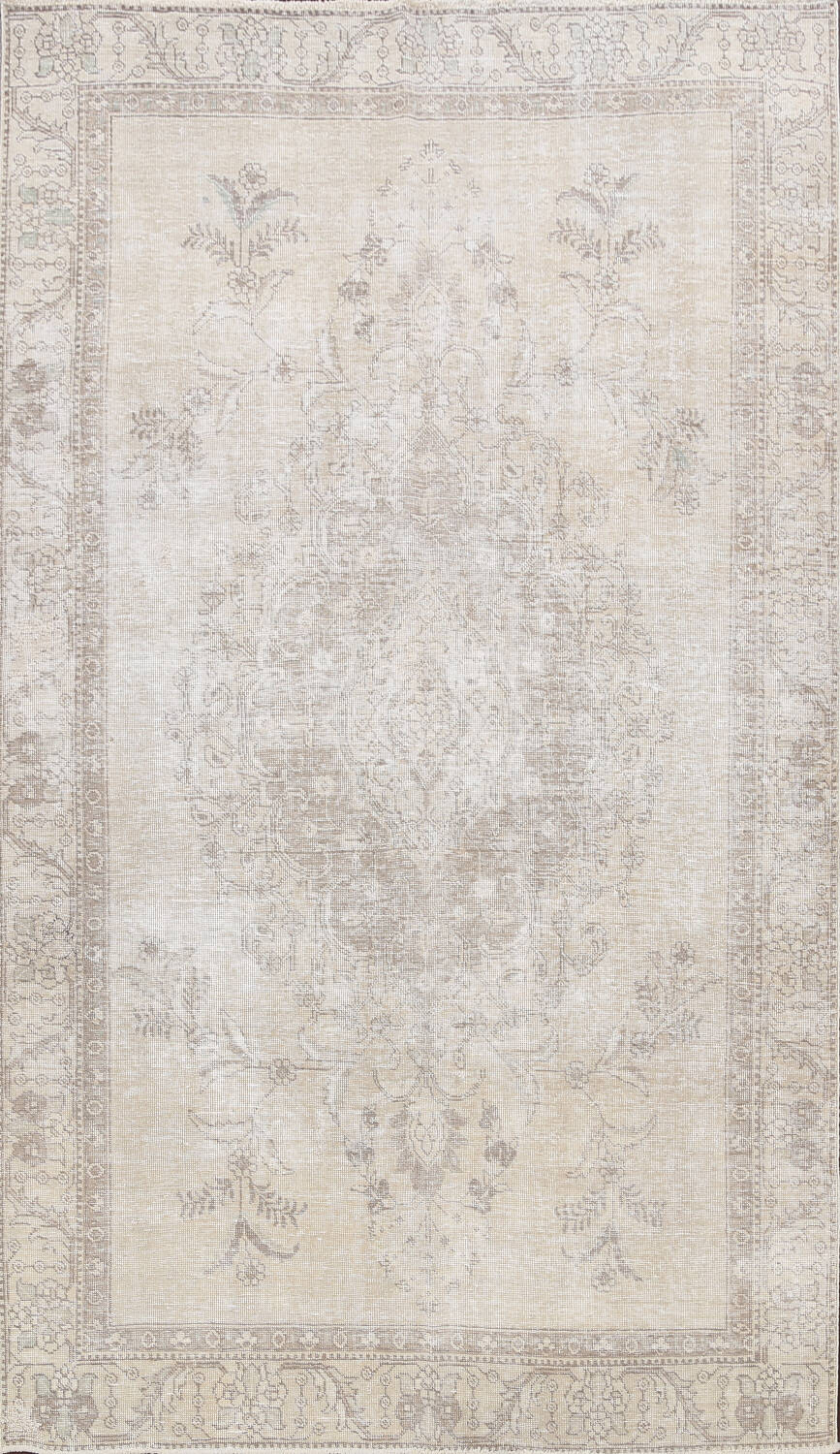 Muted Distressed Floral Tabriz Persian Area Rug 6x9 image 1