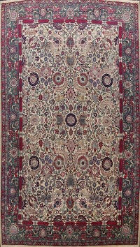 Antique Silk Vegetable Dye Tehran Persian Area Rug 11x14