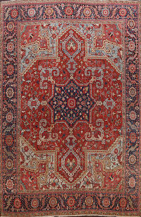 100% Vegetable Dye Antique Heriz Serapi Persian Area Rug 11x13