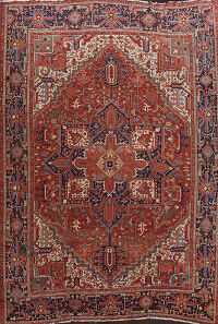 Pre-1900 Antique Vegetable Dye Heriz Serapi Persian Area Rug 11x13