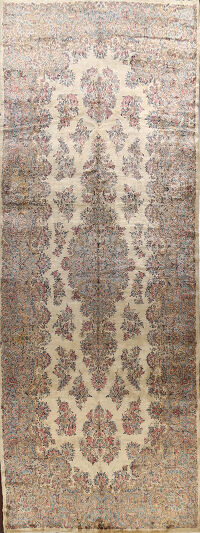 100% Vegetable Dye Antique Kerman Persian Area Rug 10x23