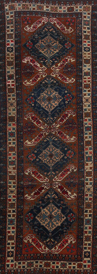 Antique Vegetable Dye Geometric Kazak Russian Oriental Runner Rug 5x11