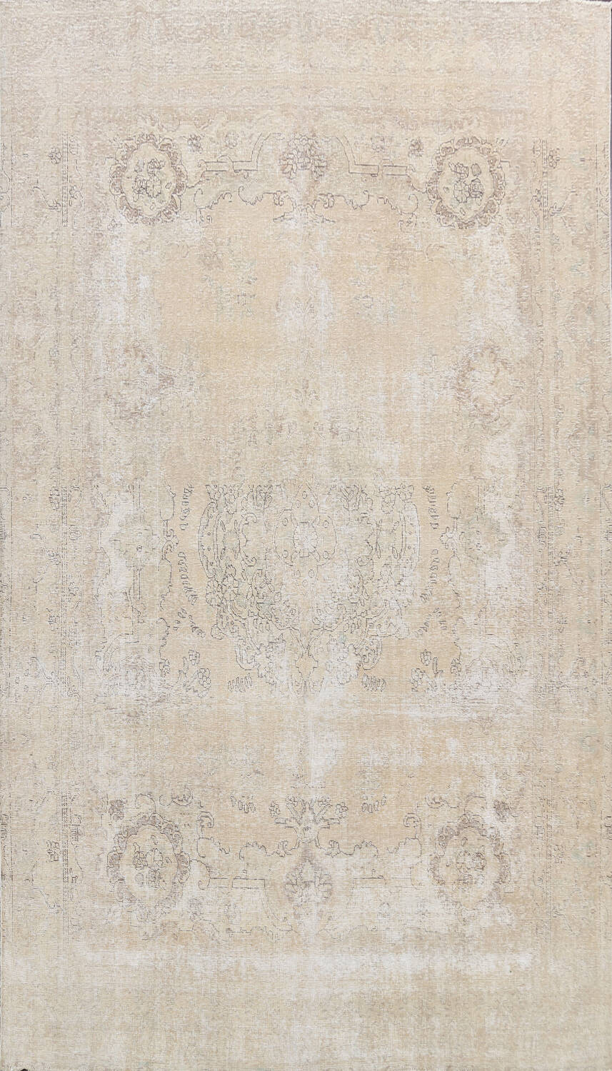 Muted Distressed Tabriz Persian Area Rug 9x12 image 1