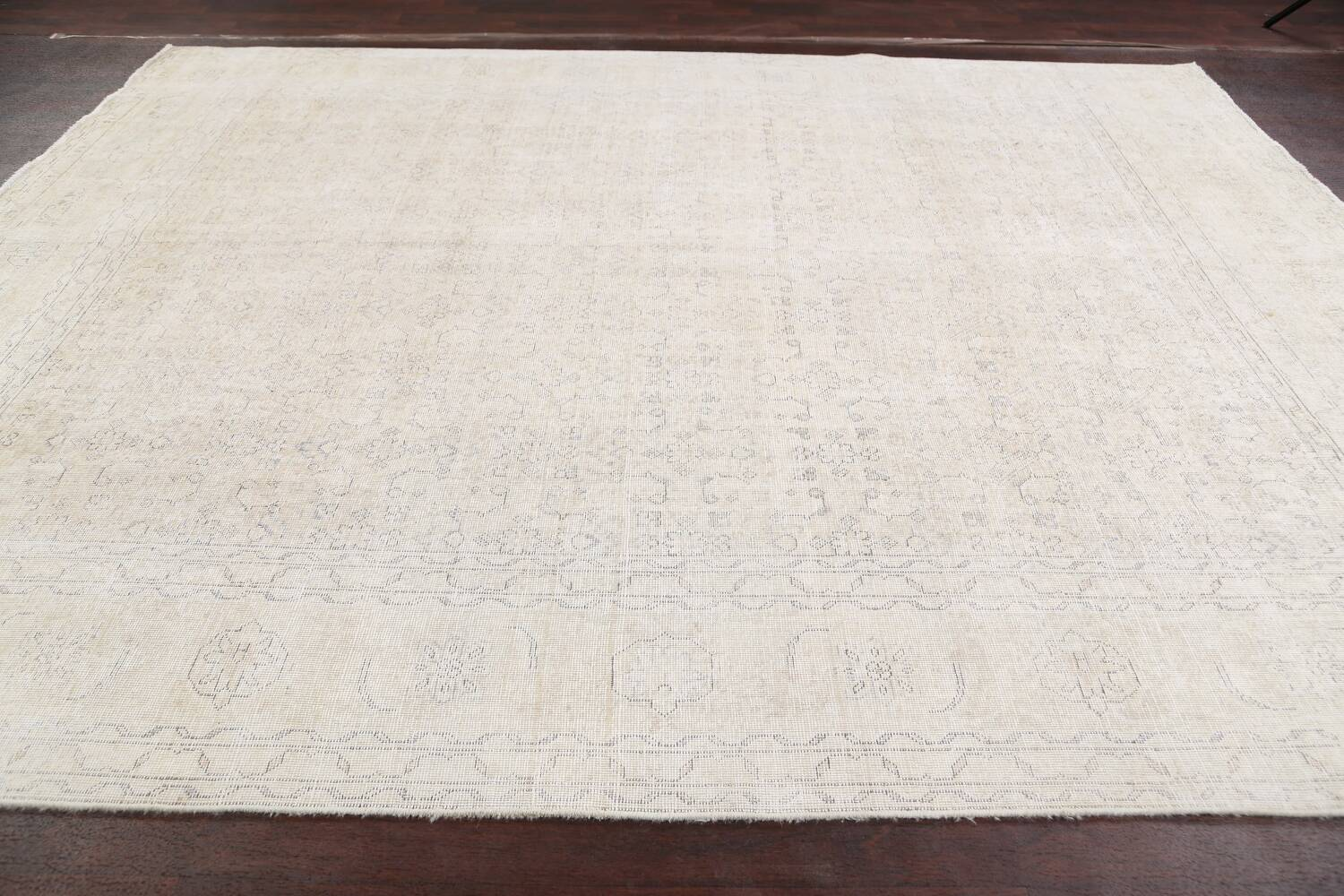 Antique Muted Geometric Tabriz Persian Area Rug 9x11 image 13