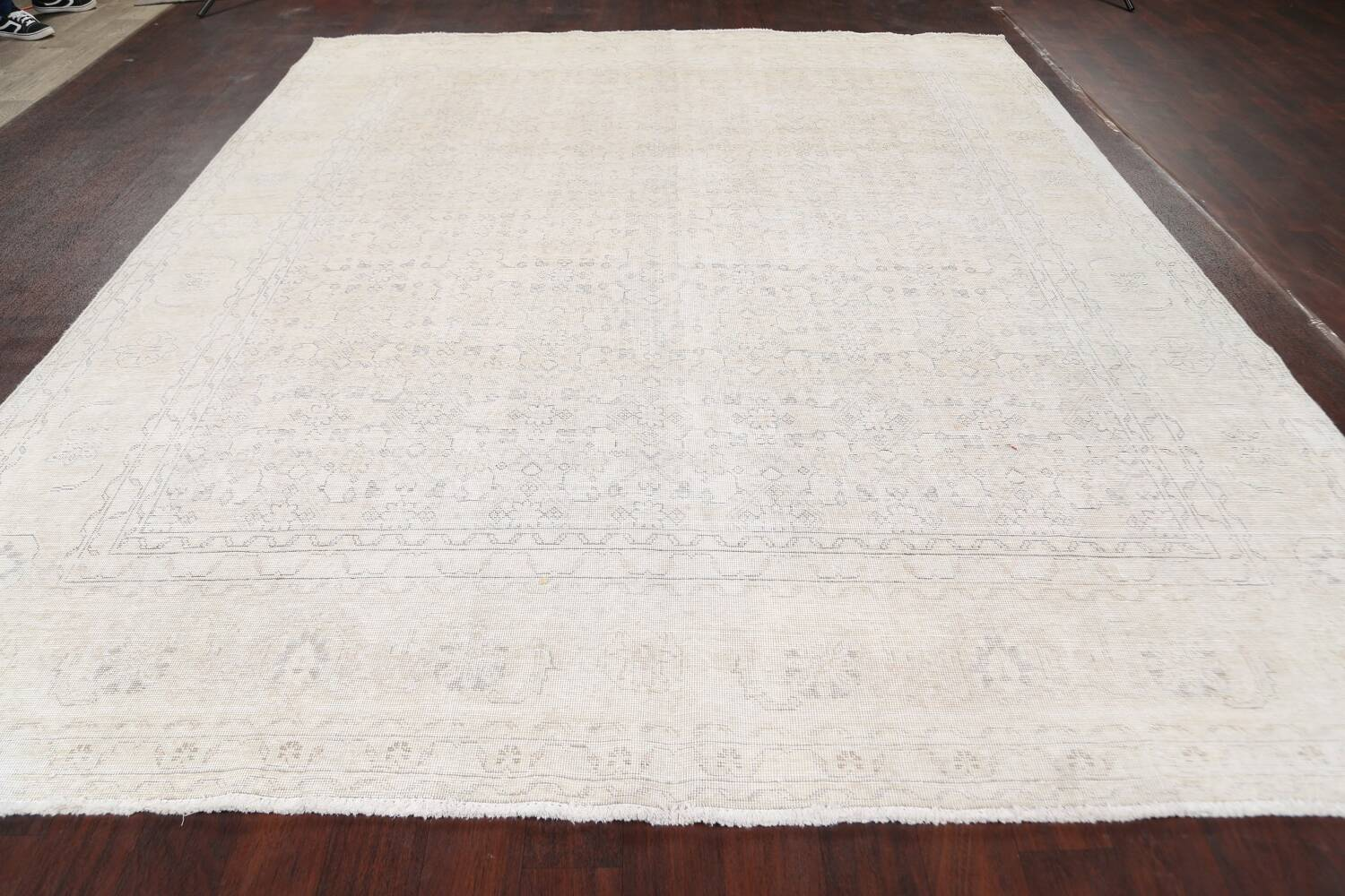 Antique Muted Geometric Tabriz Persian Area Rug 9x11 image 14