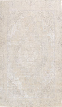 Distressed Muted Floral Tabriz Persian Area Rug 9x11