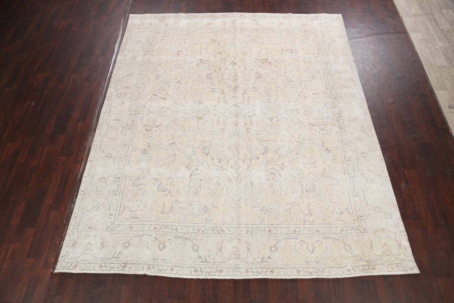 Antique Distressed Floral Tabriz Persian Area Rug 9x11 image 2