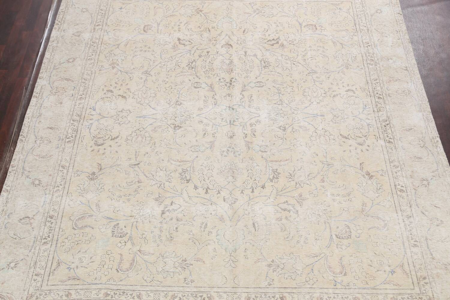 Antique Distressed Floral Tabriz Persian Area Rug 9x11 image 3