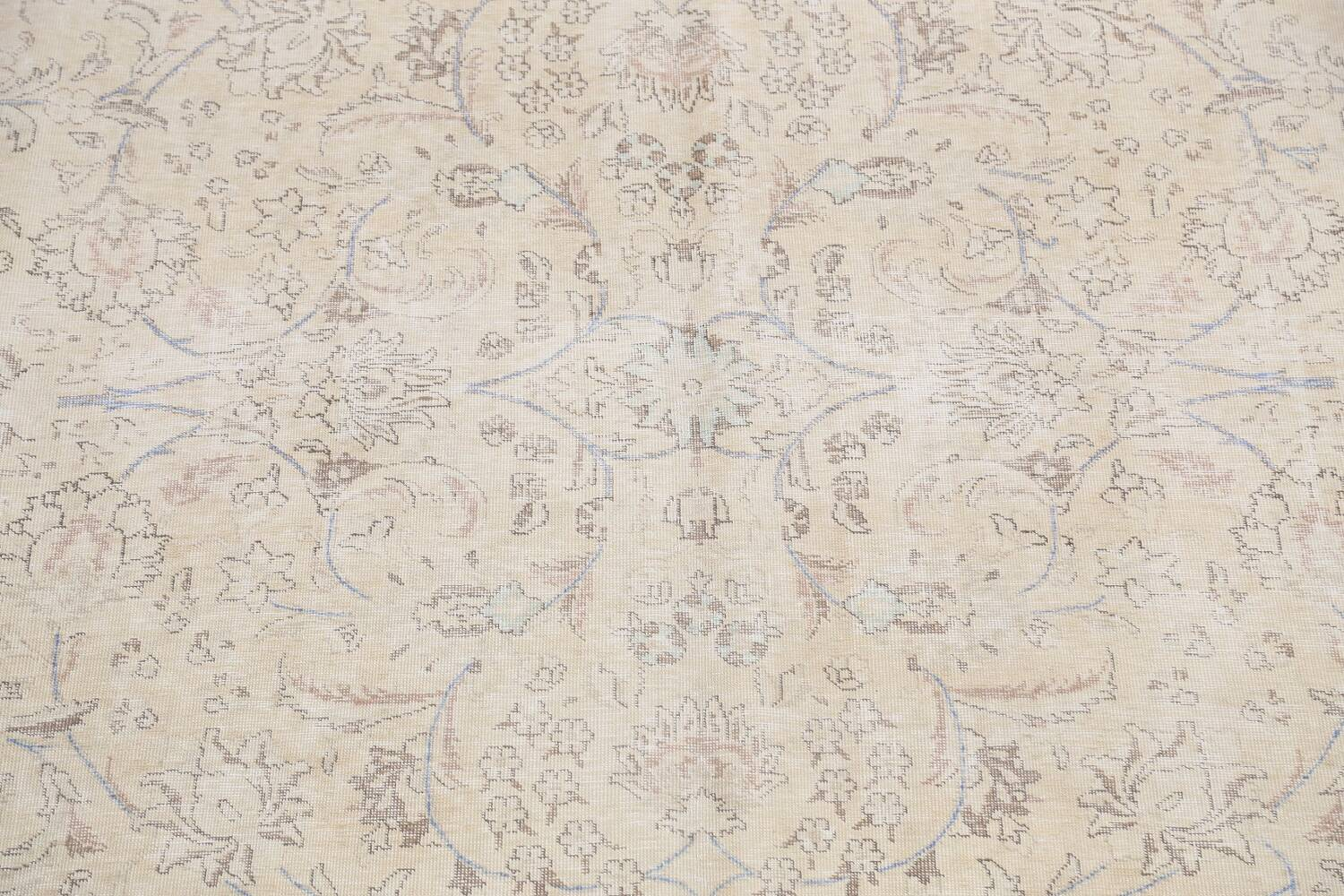Antique Distressed Floral Tabriz Persian Area Rug 9x11 image 4