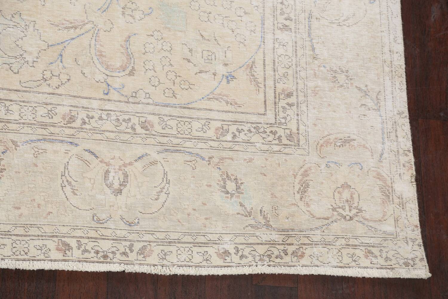 Antique Distressed Floral Tabriz Persian Area Rug 9x11 image 5