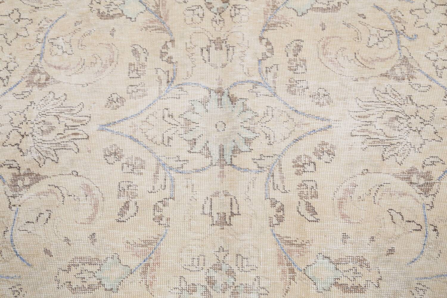 Antique Distressed Floral Tabriz Persian Area Rug 9x11 image 11
