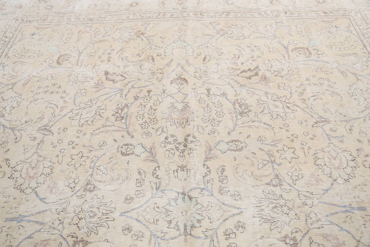 Antique Distressed Floral Tabriz Persian Area Rug 9x11 image 12