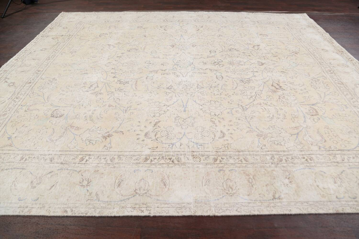 Antique Distressed Floral Tabriz Persian Area Rug 9x11 image 14