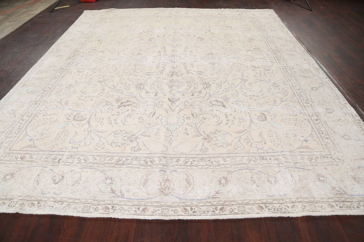 Antique Distressed Floral Tabriz Persian Area Rug 9x11 image 15