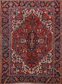 Antique Geometric Heriz Vegetable Dye Persian Area Rug 8x9