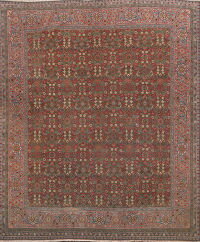 Pre-1900 Antique Vegetable Dye Mahal Persian Rug 9x9 Square