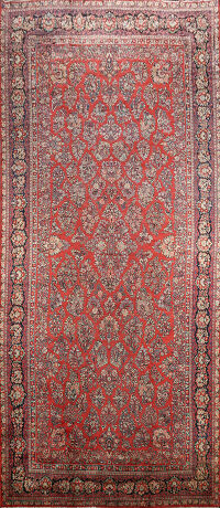 Antique 100% Vegetable Dye Sarouk Persian Area Rug 12x24