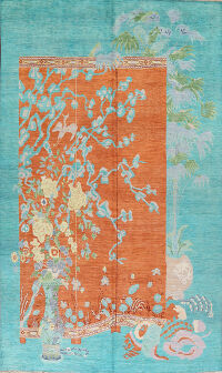 Floral Pictorial Art Deco Oriental Area Rug 9x12