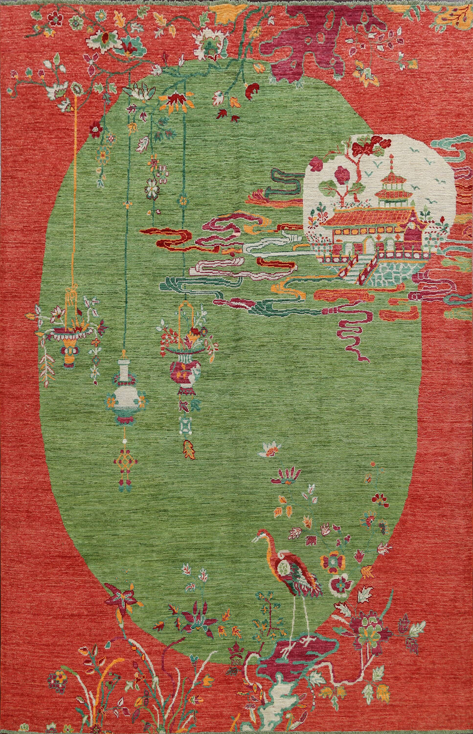 Pictorial Art Deco Chinese Oriental Area Rug 8x10 image 1