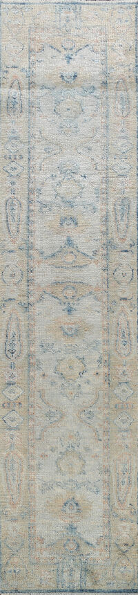 100% Vegetable Dye Oushak Oriental Runner Rug 2x11