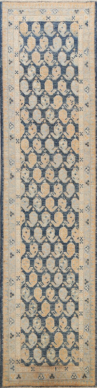 Vegetable Dye Paisley Oushak Turkish Oriental Runner Rug 2x9