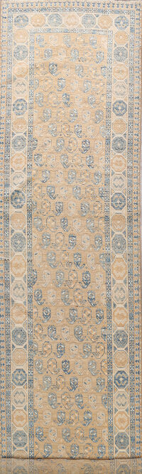 Vegetable Dye Paisley Oushak Turkish Oriental Runner Rug 4x15