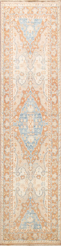 100% Vegetable Dye Oushak Turkish Oriental Runner Rug 3x10