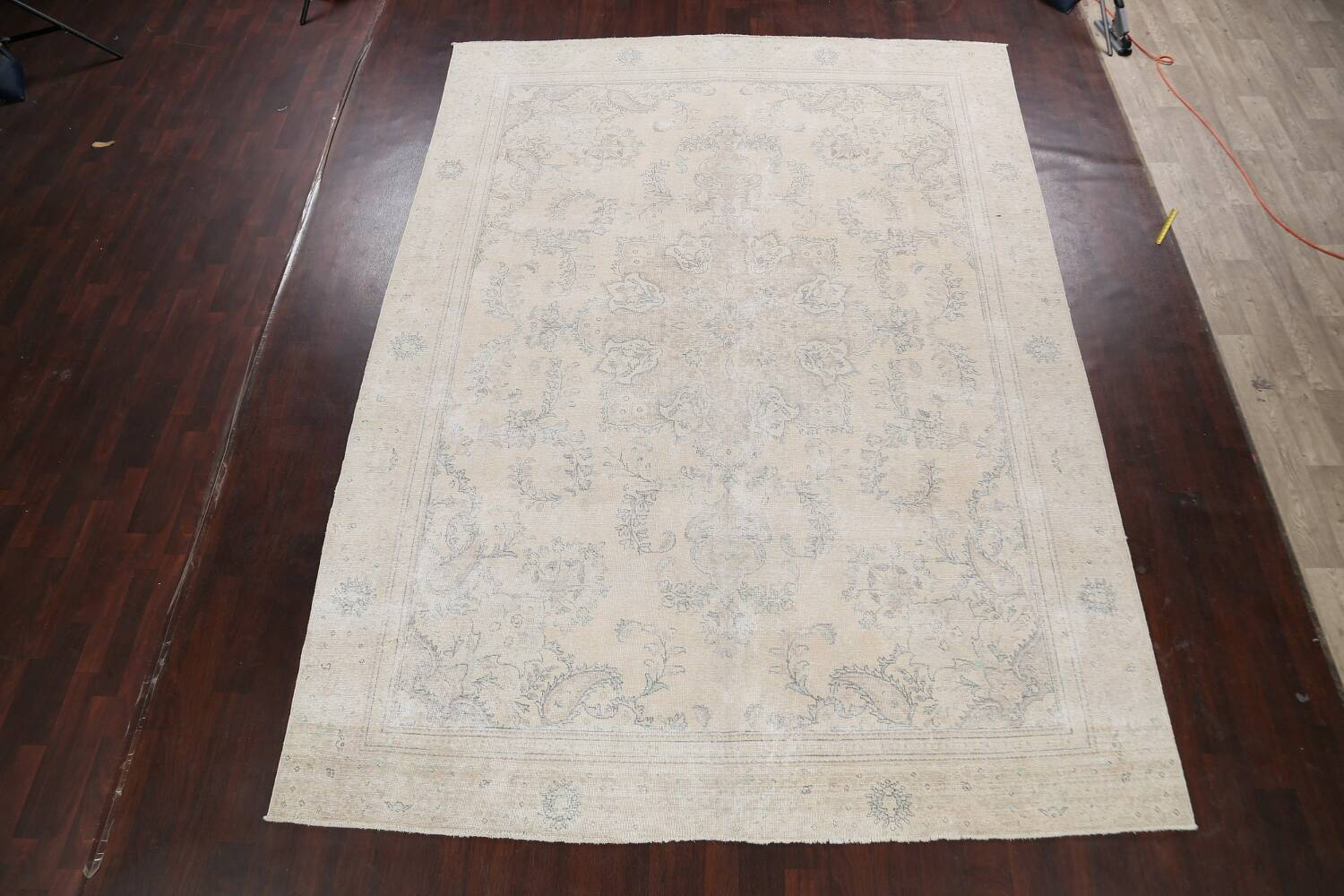 Muted Distressed Floral Tabriz Persian Area Rug 8x12 image 2