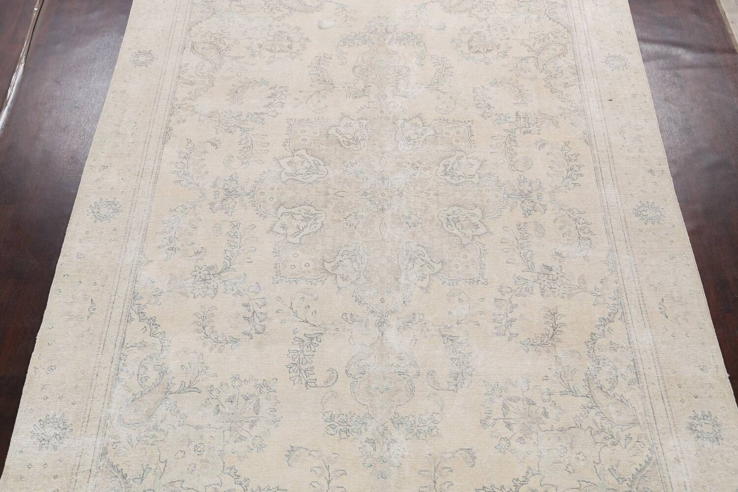 Muted Distressed Floral Tabriz Persian Area Rug 8x12 image 3