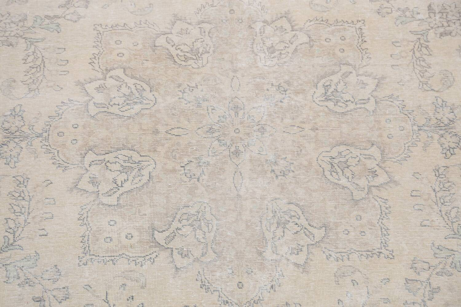 Muted Distressed Floral Tabriz Persian Area Rug 8x12 image 4