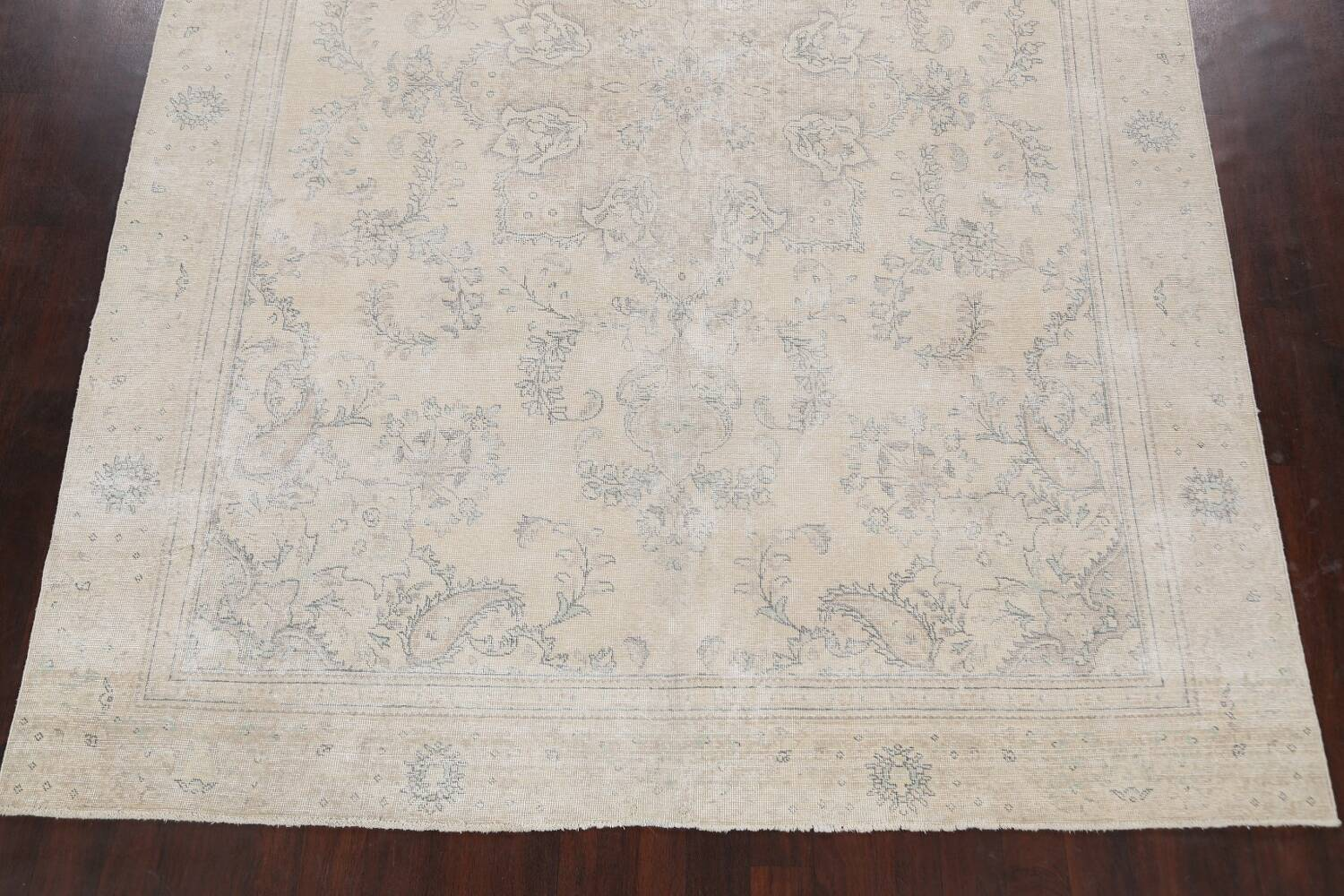 Muted Distressed Floral Tabriz Persian Area Rug 8x12 image 8