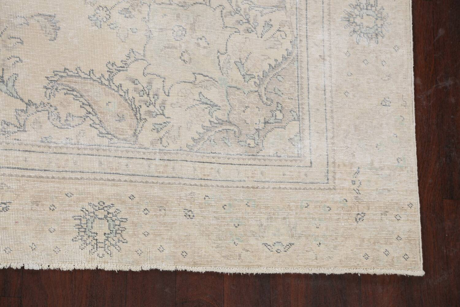 Muted Distressed Floral Tabriz Persian Area Rug 8x12 image 5