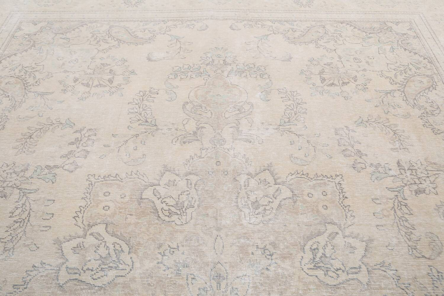Muted Distressed Floral Tabriz Persian Area Rug 8x12 image 12