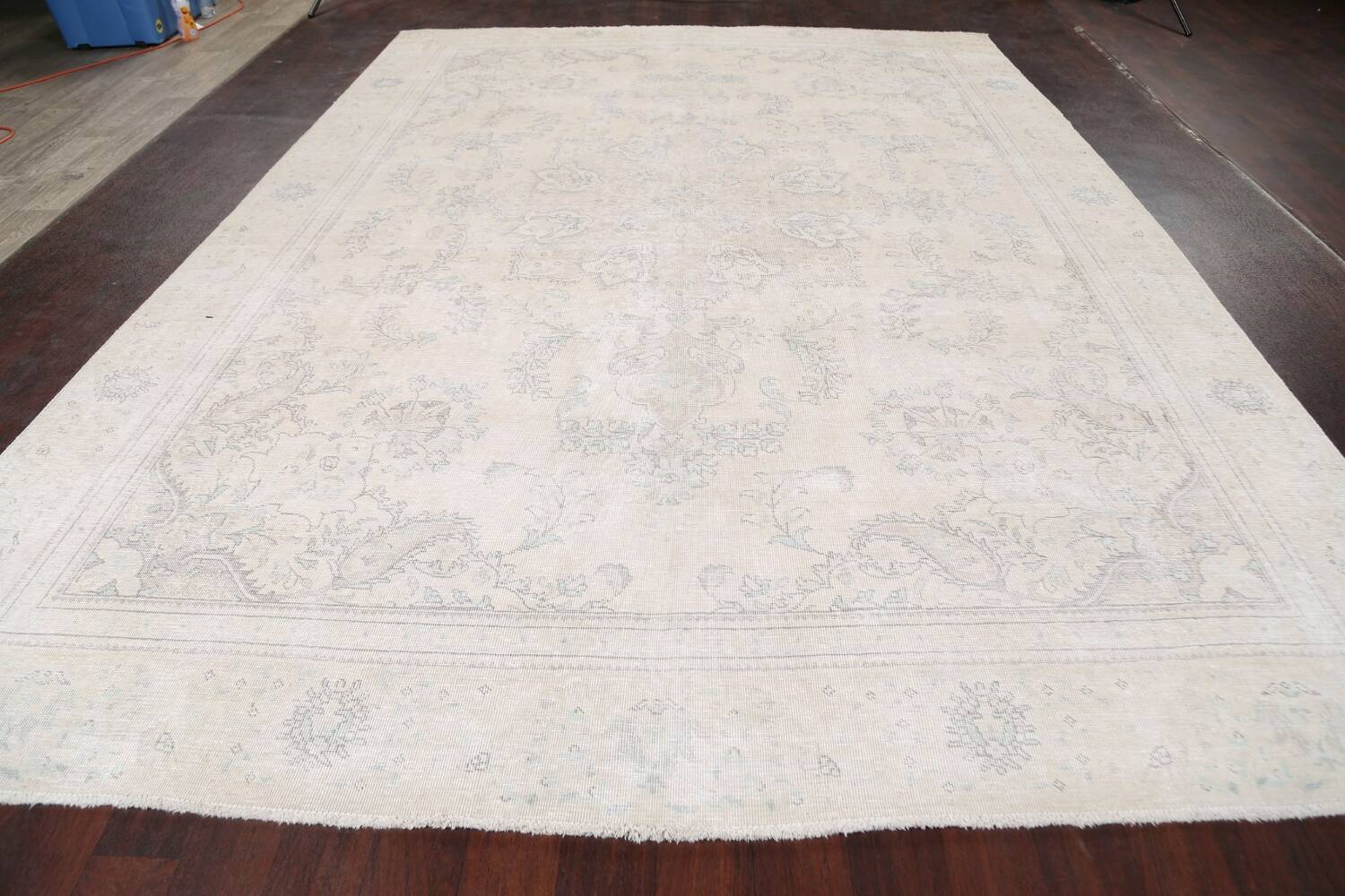 Muted Distressed Floral Tabriz Persian Area Rug 8x12 image 15
