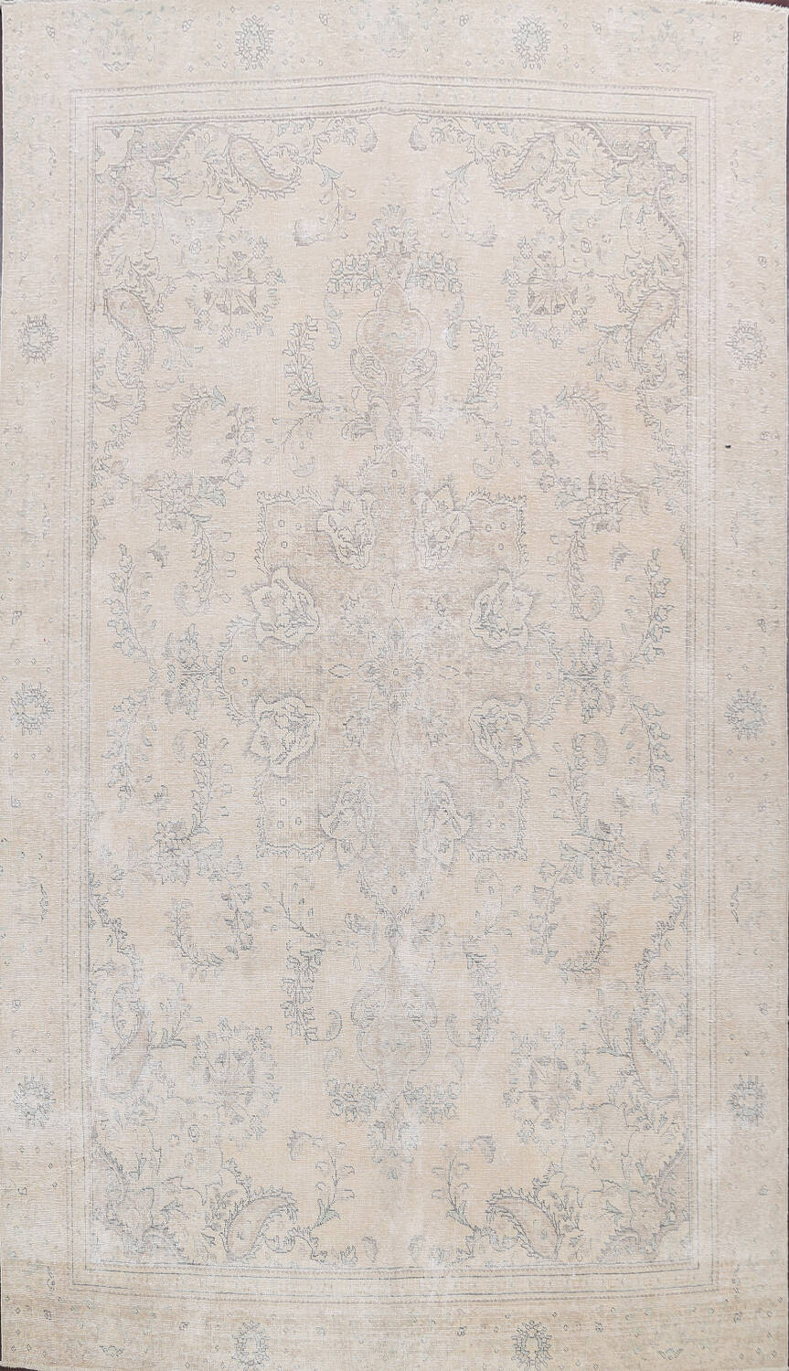 Muted Distressed Floral Tabriz Persian Area Rug 8x12 image 1