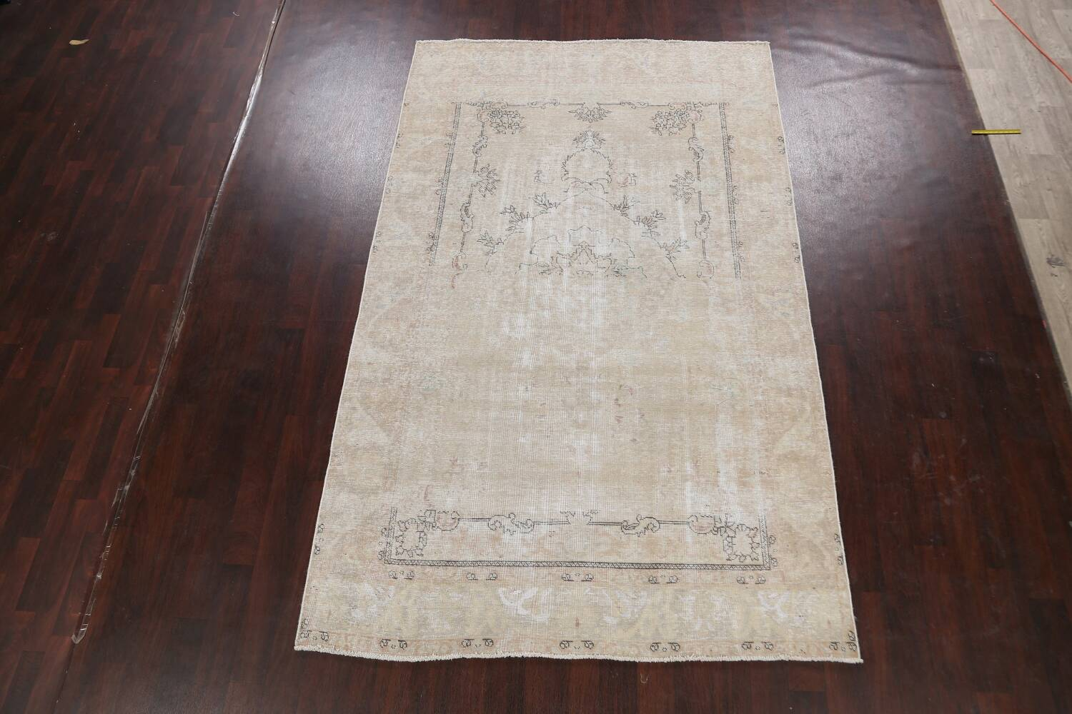 Muted Distressed Tabriz Persian Area Rug 6x10 image 2