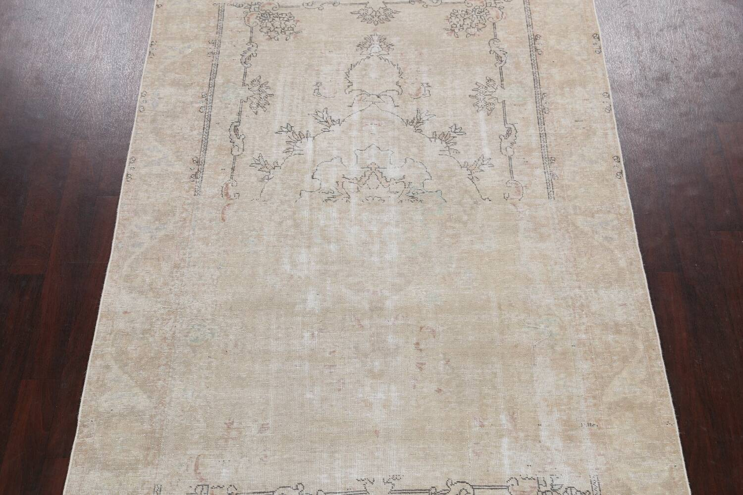 Muted Distressed Tabriz Persian Area Rug 6x10 image 3