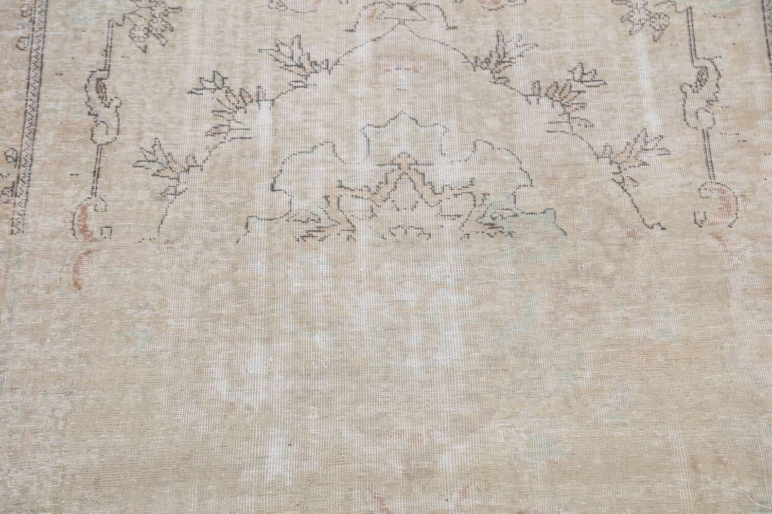 Muted Distressed Tabriz Persian Area Rug 6x10 image 4