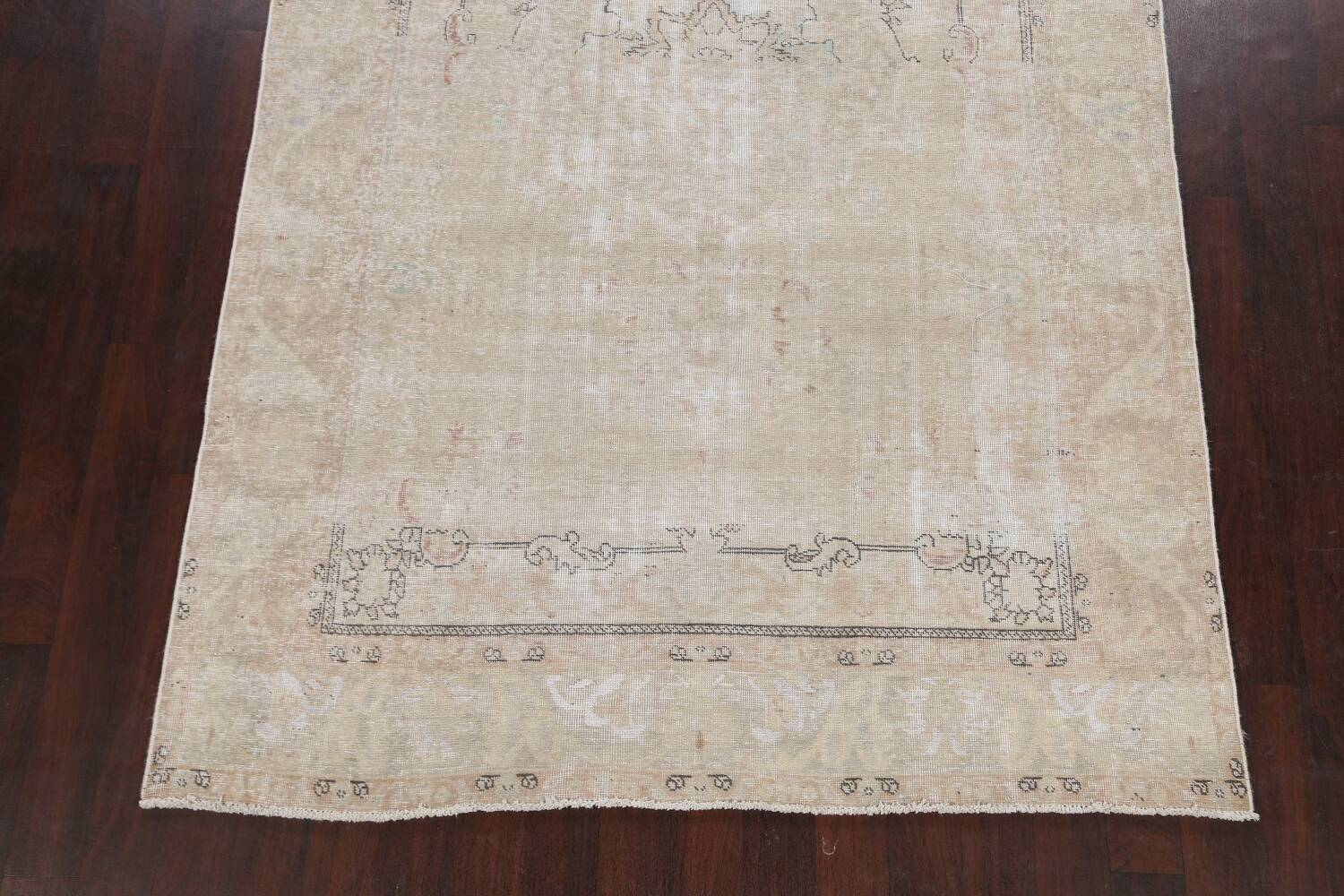 Muted Distressed Tabriz Persian Area Rug 6x10 image 8