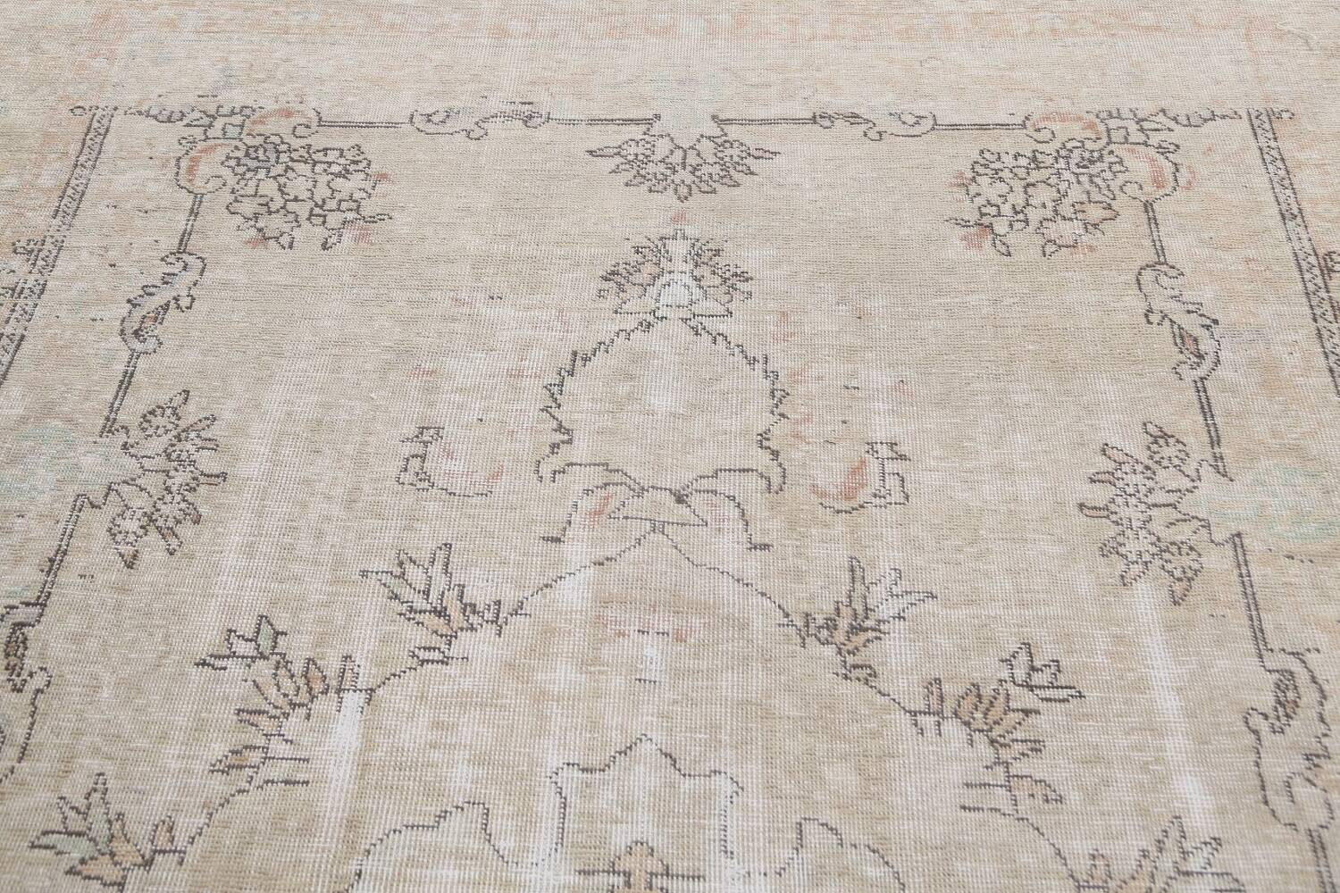 Muted Distressed Tabriz Persian Area Rug 6x10 image 11