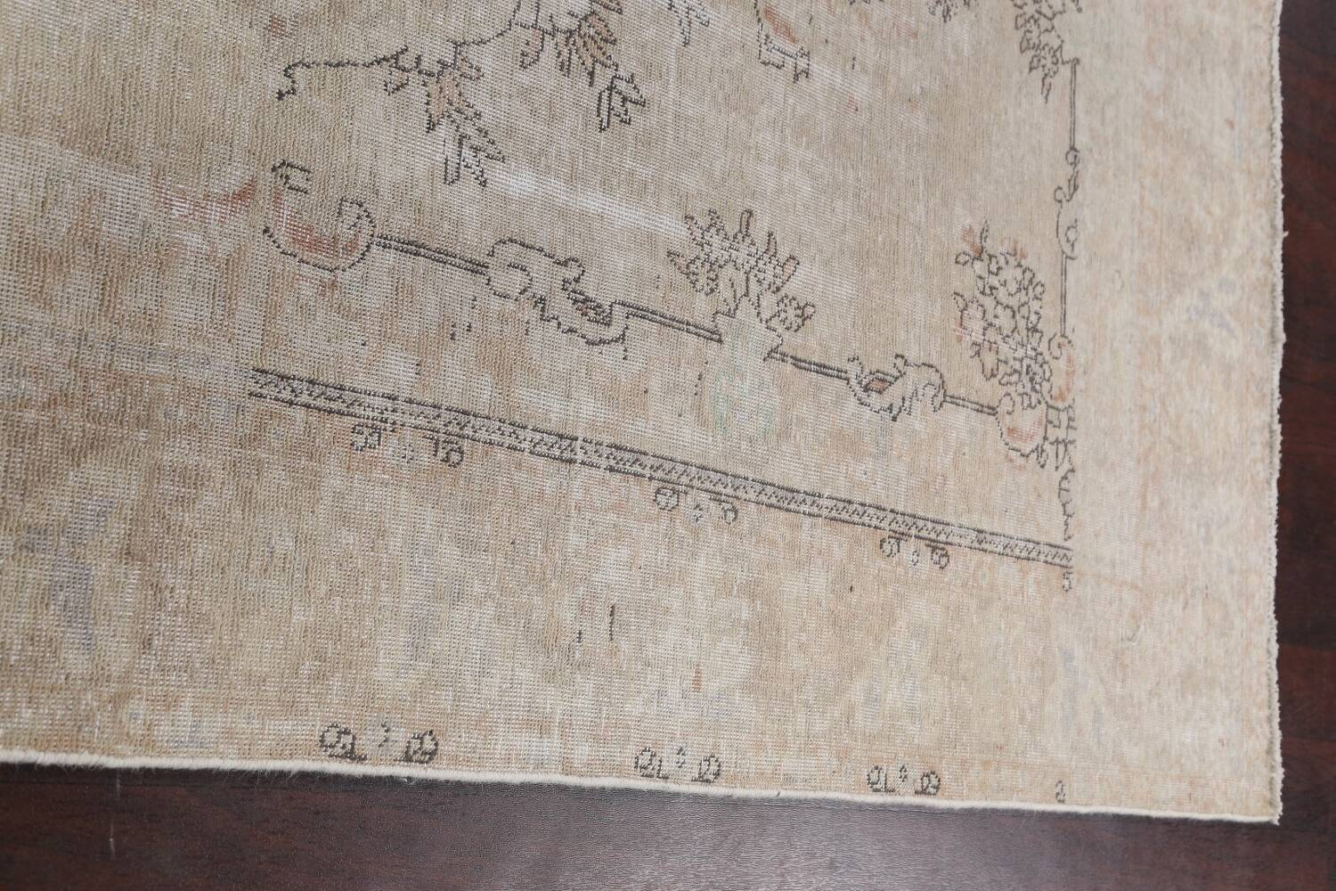 Muted Distressed Tabriz Persian Area Rug 6x10 image 12
