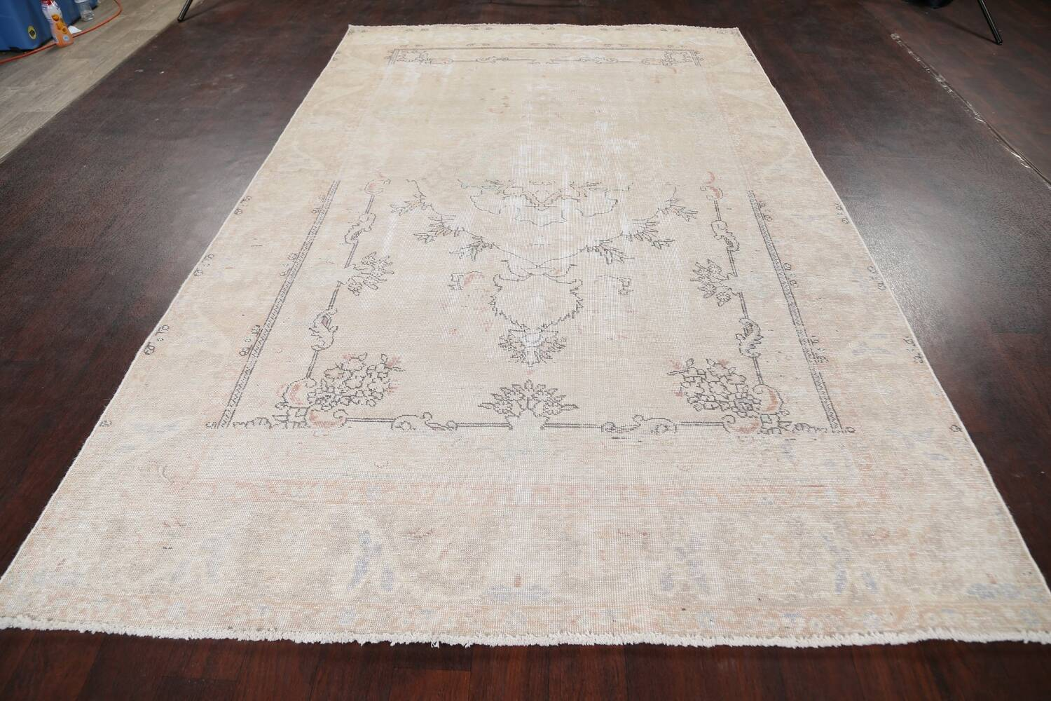 Muted Distressed Tabriz Persian Area Rug 6x10 image 14