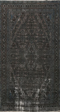 Over-dye Distressed Hamedan Persian Area Rug 6x9