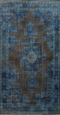 Over-dye Geometric Tabriz Persian Area Rug 7x10