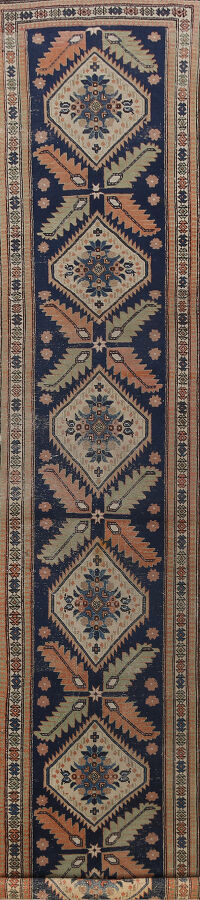 Antique Geometric Sarab Persian Runner Rug 3x13